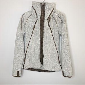Kuhl Fleece Flight Jacket Gray & Brown Zip Up L